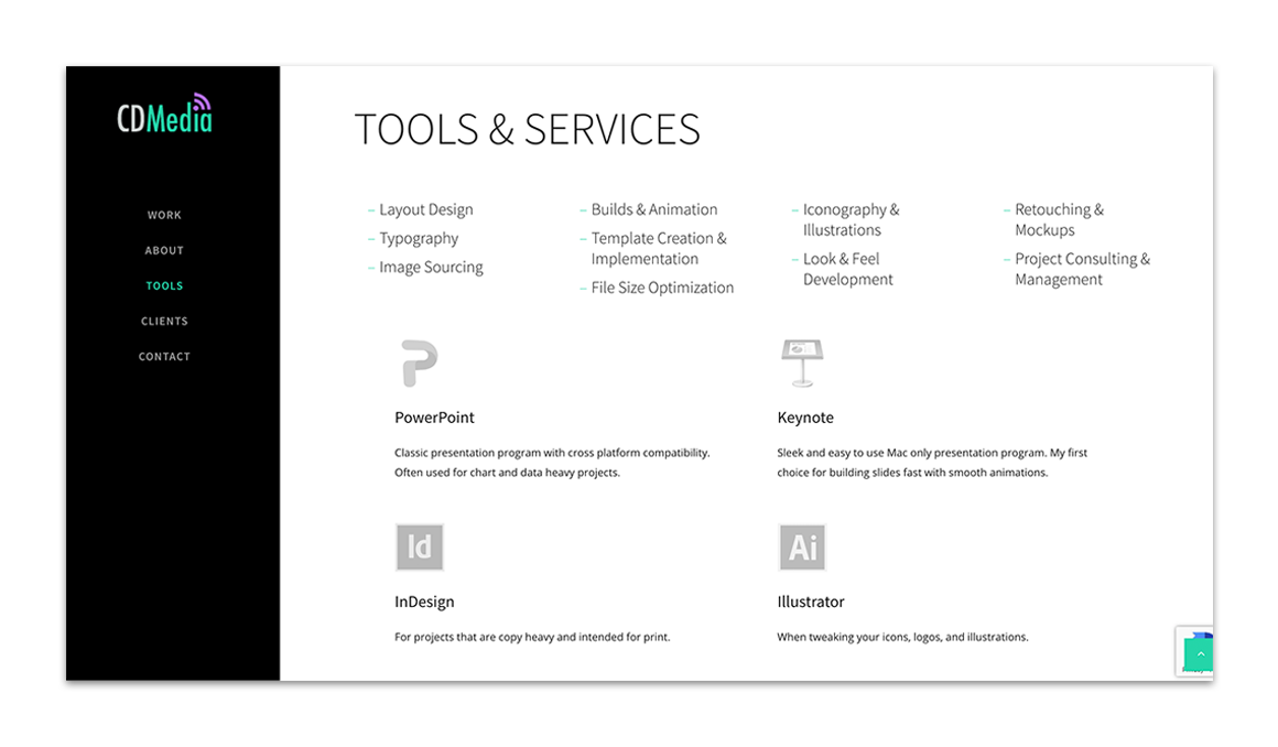 CD Media tools & services layout